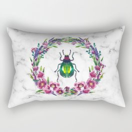Colourful Beetle with flower wreath Rectangular Pillow