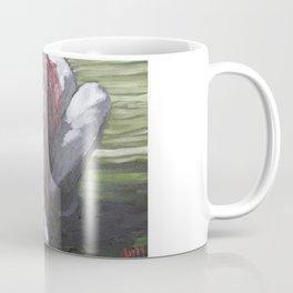 Oil paint on canvas painting of a nude red haired women clutching her hair in the fetal position Coffee Mug