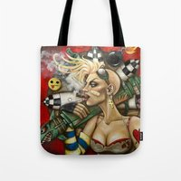 tank girl Tote Bags featuring Tank Girl Nouveau by Megan Mars