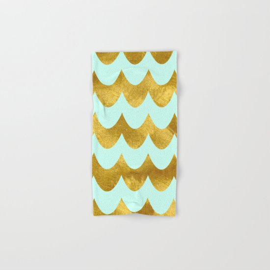 Mint Gold Foil 04 Hand & Bath Towel