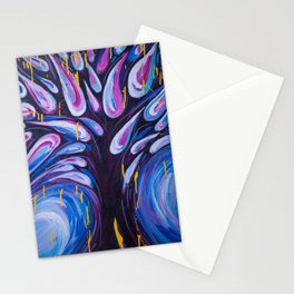 Tree Drops - Abstract Painting of Tree and Leaves Stationery Cards