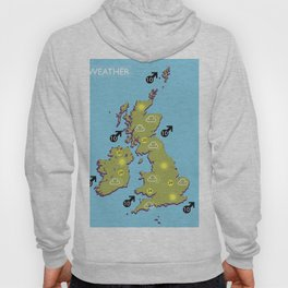 British vintage style television weather map Hoody