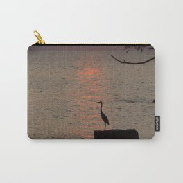 Sunset with Heron Carry-All Pouch