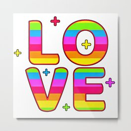 LGBT, Gay and Lesbian Quotes, Designs of Rainbows Flags and Hearts (28) Metal Print