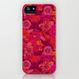 Hellebore lineart florals | red iPhone Case