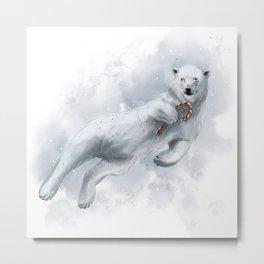 polar bear with candy cane Metal Print