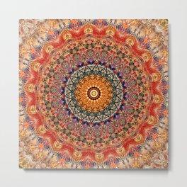 Indian Summer I - Colorful Boho Feather Mandala Metal Print
