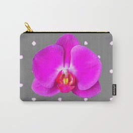 Purple Butterfly Orchids Patterns Charcoal Grey Art Carry-All Pouch