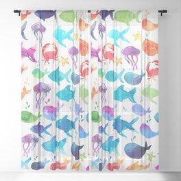 Rainbow Watercolor Under The Sea Marine Sheer Curtain