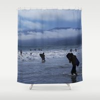 santa monica Shower Curtains featuring Santa Monica Surf by Willinok