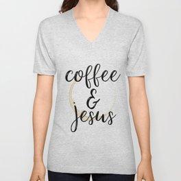 Coffee and Jesus Unisex V-Neck