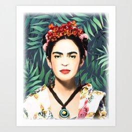 Frida Kahlo, watercolor, Frida, Frida Kahlo painting, botanical, tropical Art Print