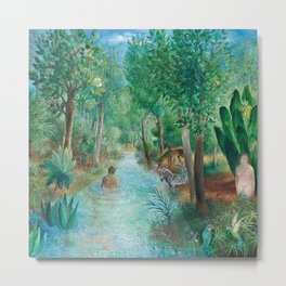 First Night Together in the Jardin e'Eden landscape painting by O. Sachoroff Metal Print
