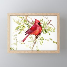 Northern Cardinal, cardinal bird lover gift Framed Mini Art Print