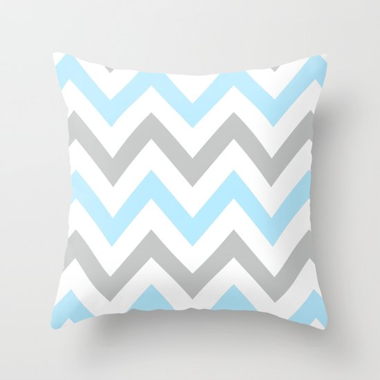Blue Amp Gray Chevron Throw Pillow By N A T Society6