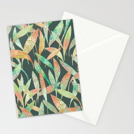 Hosta Leaves at Night Watercolor Stationery Cards