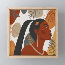 Hand drawn abstract portrait of beautiful african american girl,  monstera leaves background Framed Mini Art Print