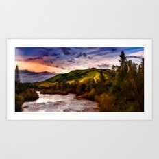 High Mountain River Art Print