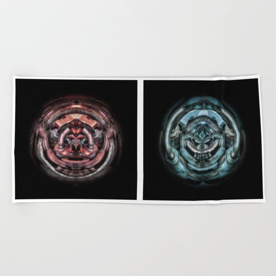 The caterpillar machinery red and cyan brothers Beach Towel