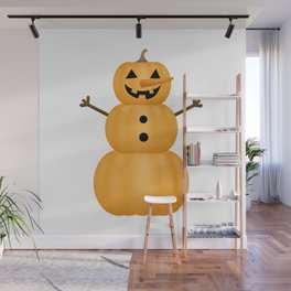 Pumpkin Snowman Wall Mural