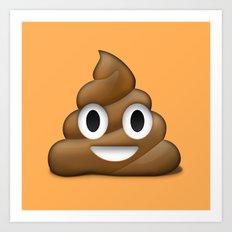 Smiling Poo Emoji (Colored Background) Art Print