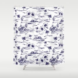 Tropical Island Vintage Hawaii Summer Pattern in Navy Blue Shower Curtain