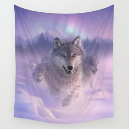 Wolf Pack Running - Northern Lights Wall Tapestry