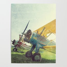 Preflight Biplane // Antique Airplanes Poster