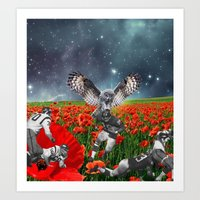 49ers Art Prints featuring Owl my god by Kiki collagist