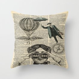 newspaper print dictionary page binoculars hot air balloon victorian steampunk Throw Pillow