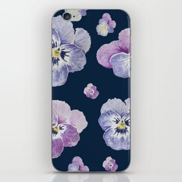 Watercolor Pansy Pattern (Navy Background) iPhone Skin