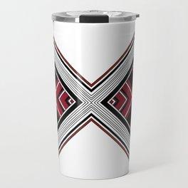 "Abstract Red Black Diamond ""X"" pattern Travel Mug"