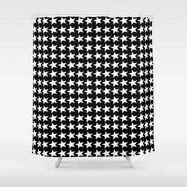 Black White Stars Pattern Shower Curtain