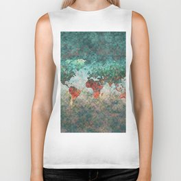 World Map Square Biker Tank
