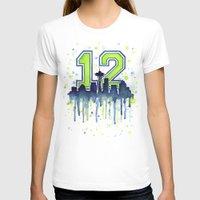 seahawks T-shirts featuring Hawks 12th Man Fan Art by Olechka