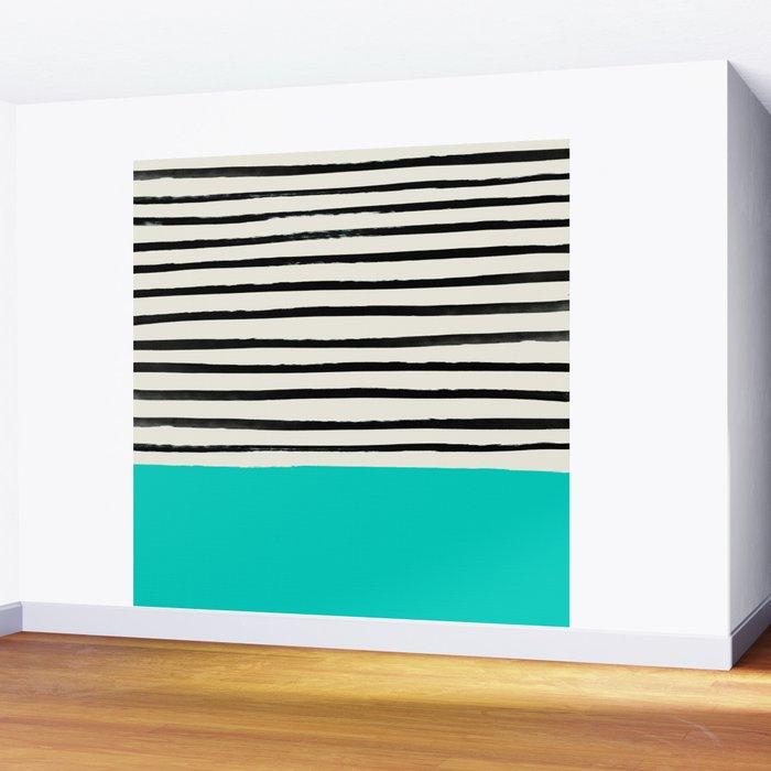 Aqua & Stripes Wall Mural