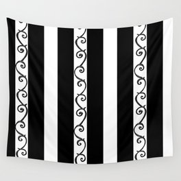 Stripes and Thorny Vines by Dark Decors - Black and Whites Wall Tapestry
