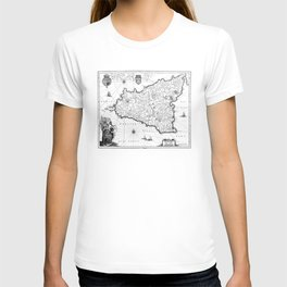 Vintage Map of Sicily Italy (1600s) BW T-shirt