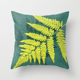 From the forest - lime green on teal Throw Pillow