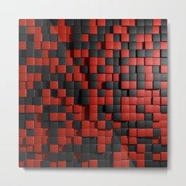 Abstract Black Red Modern 3D Tiles Metal Print