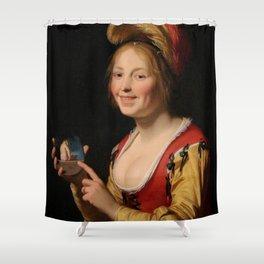 Gerard van Honthorst - Jonge vrouw met een medaillon Shower Curtain