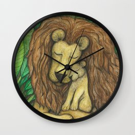 Lion and Cub Wall Clock