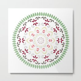 Mandala with green leaves and flowers Metal Print