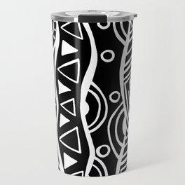 Four Waves - Freestyle Tribal Doodle Design - Black Travel Mug
