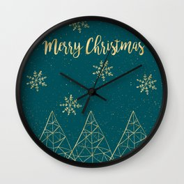 Merry Christmas Teal Gold Wall Clock
