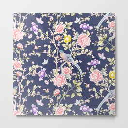 Chinoiserie Flowers and Birds Pattern Metal Print