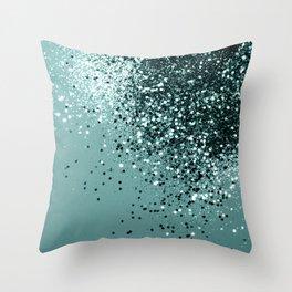 Teal Mermaid Ocean Glitter #1 #shiny #decor #art #society6 Throw Pillow