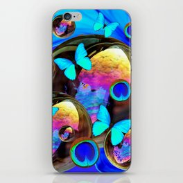 SURREAL NEON BLUE BUTTERFLIES IRIDESCENT SOAP BUBBLES PEACOCK EYES iPhone Skin