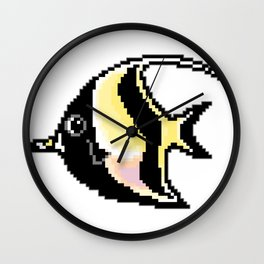 8-Bit Moorish Idol Pixel Art Tropical Fish Wall Clock