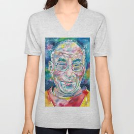 14th DALAI LAMA - TENZIN GYATSO - watercolor portrait.2 Unisex V-Neck